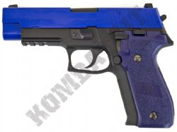 WE 1907 Replica P226 Style Gas Blowback Metal Airsoft BB Gun 2 Tone Blue Black